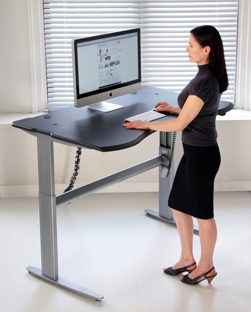 Motorized or crank adjustable level2 standing desk with for Standing office desk furniture