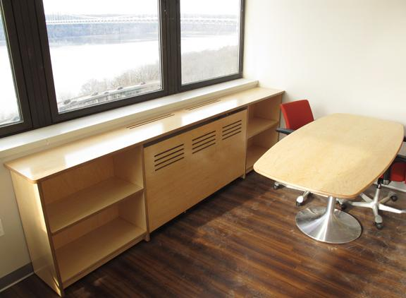 Custom Low Bookcase, 6' Conference Table, both in Maple Plywood