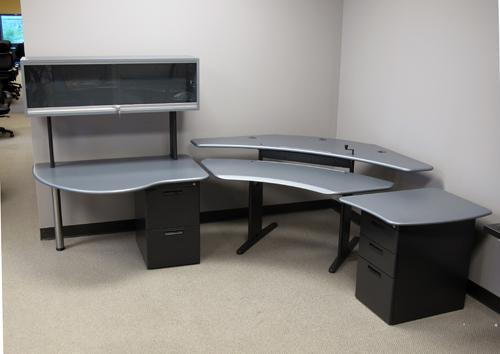Personal Desk with Extensions, Gunmetal Tops - Click here to view product page