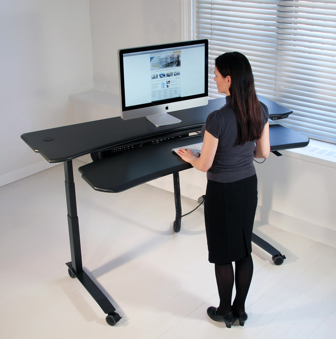 Dual surface flexo level3 standing desk with motorized or for Standing office desk furniture