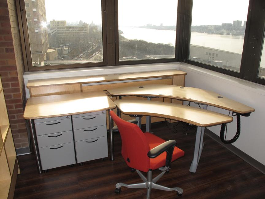 Personal Plus Desk with Maple Plywood Surfaces & silver frame, Utility Table, File cabinets